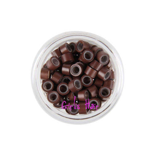 Girlis luxury hair extensions micro rings 3mm silicone for stick brown silicone micro rings beads link i tip pmusecretfo Image collections