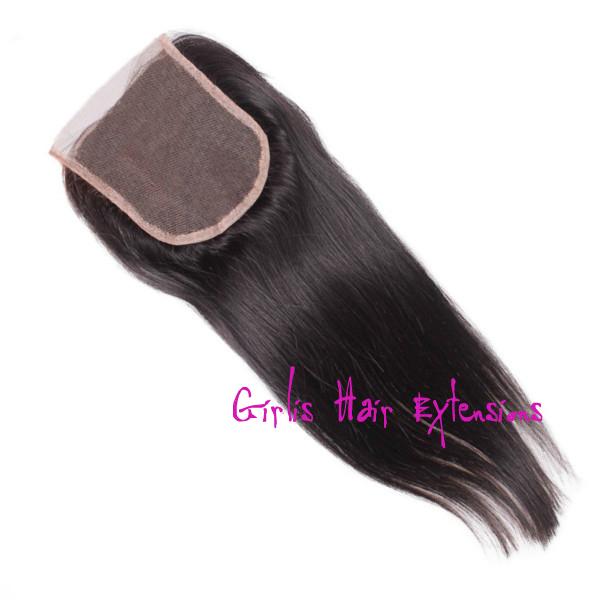 Straight Lace Closure Hair Brazilian Virgin Hair 4x 4 Free Parting